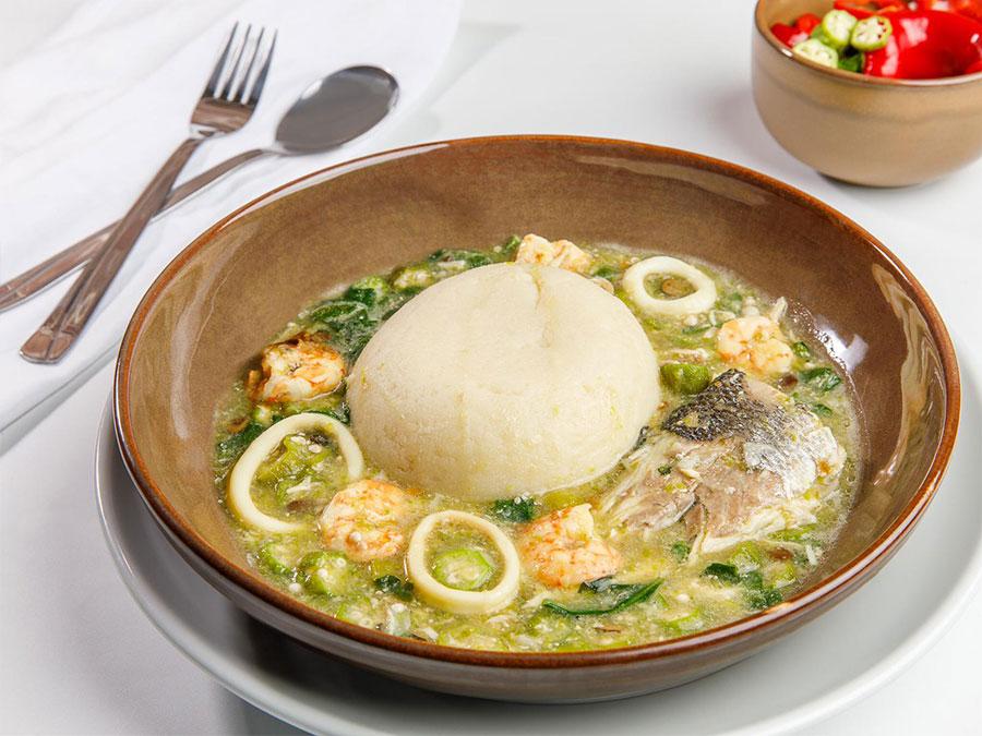 Pounded Yam Seafood Okra
